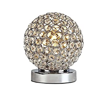 Superb Crystal Silver Ball Table Lamp Bulb Included