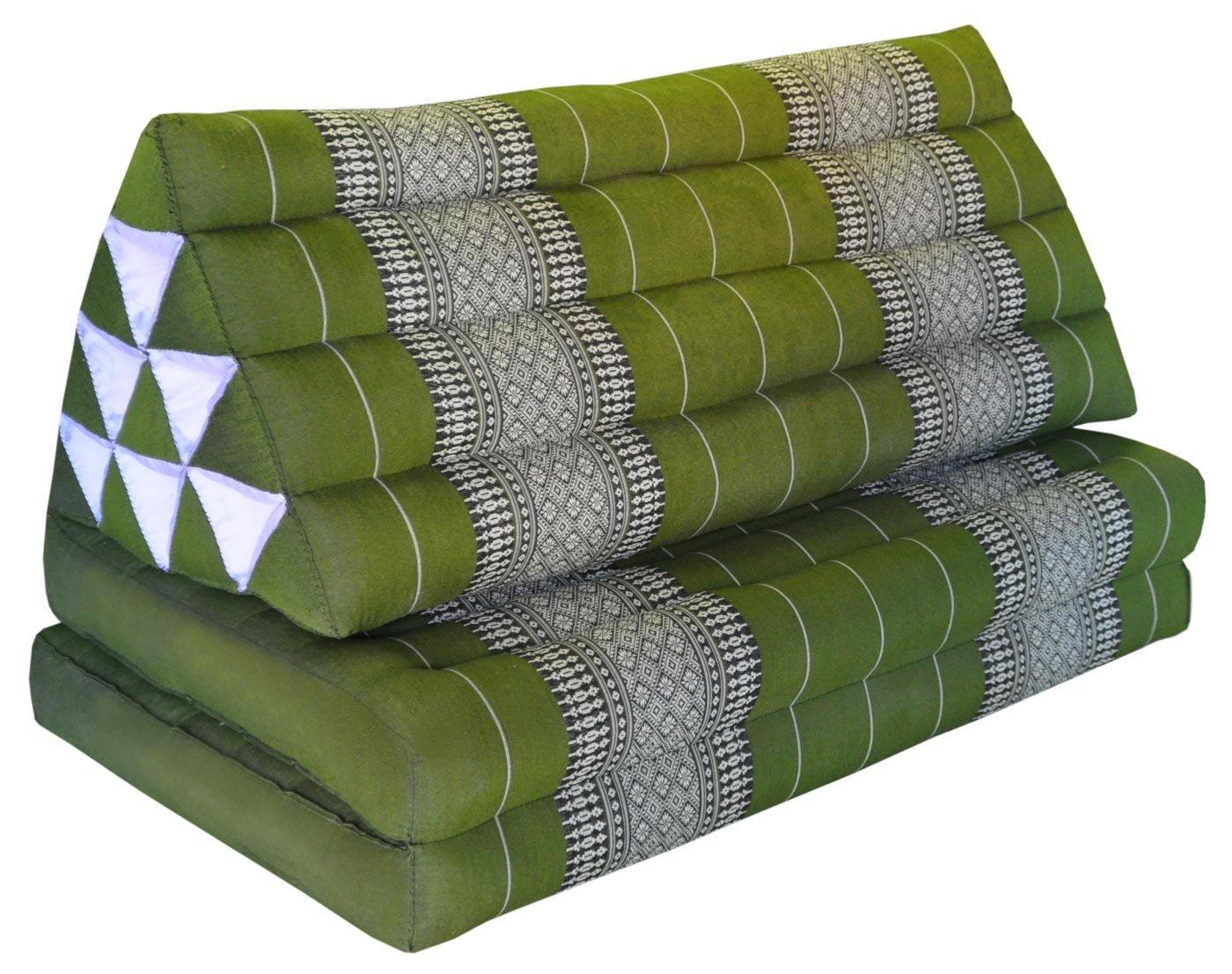 Thai triangle cushion XXL, with 2 folding seats, green, sofa, relaxation, beach, pool, meditation, yoga, made in Thailand. (81817)
