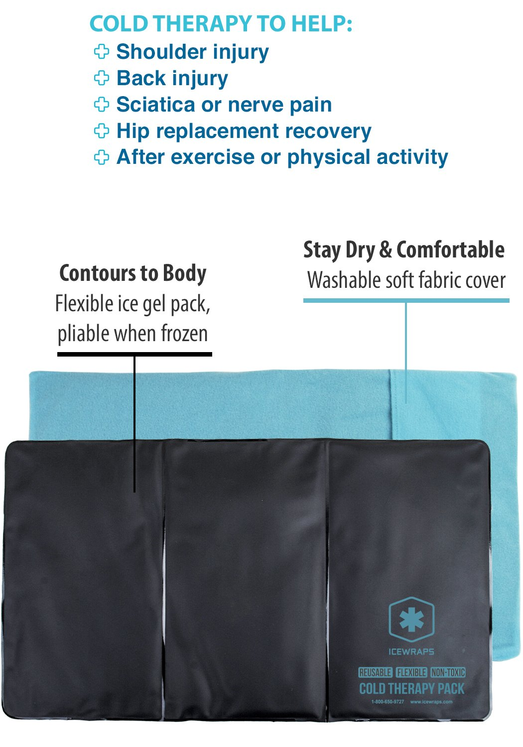 IceWraps Flexible Gel Cold Pack For Therapy - 12''x21'' Oversize Knee, Sciatica, or Back Gel Ice Pack - Includes Free Bonus Cover by IceWraps (Image #2)