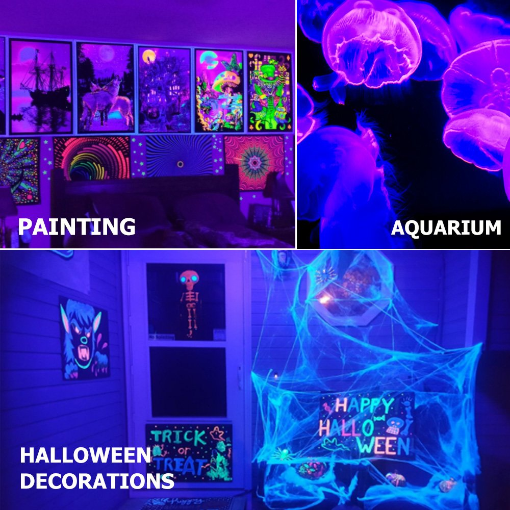 Onforu 2 Pack 28W UV LED Black Light Flood Light with Plug, IP66 Waterproof, for Blacklight Party, Stage Lighting, Aquarium, Body Paint, Fluorescent Poster, Neon Glow, Fishing, Glow in the Dark by Onforu (Image #6)