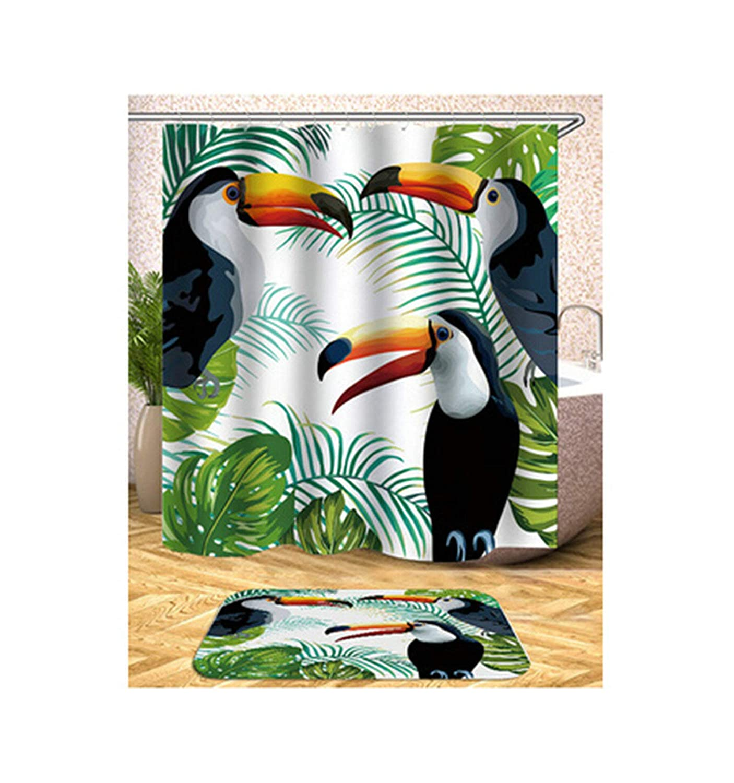 Coniea Badewanne Vorhang mit Duschvorhangringen Vogel Muster Mehrfarbig Badvorhang Antischimmel 150X180Cm