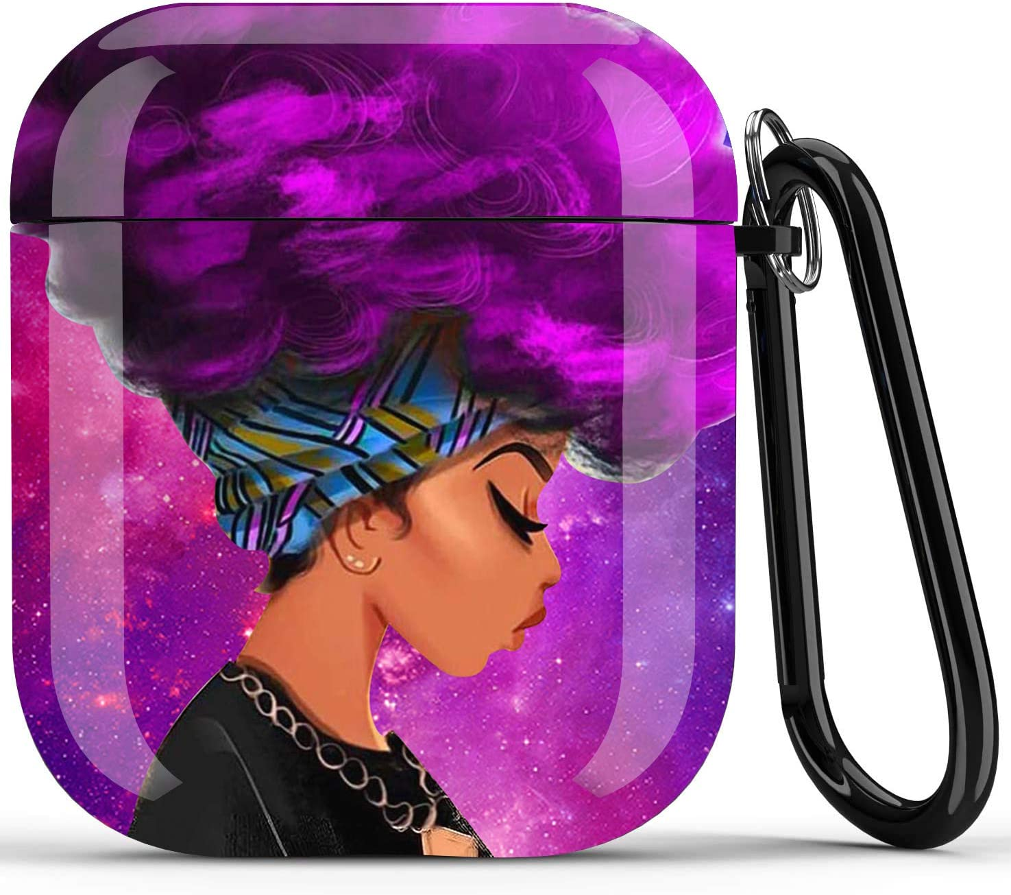 Black Girl Airpods Case - Icepos African American Airpod Skin Protective Hard Case Cover Portable & Shockproof Women Girls with Keychain for Apple Airpods 2/1 Charging Case (Purple Hair Girl)