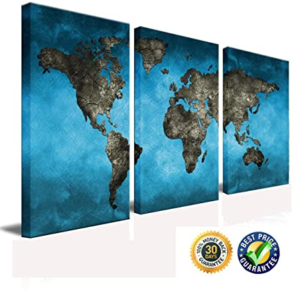 World Map Framed Wall Art.Amazon Com April Art Blue World Map Canvas Printed Wall Art Poster