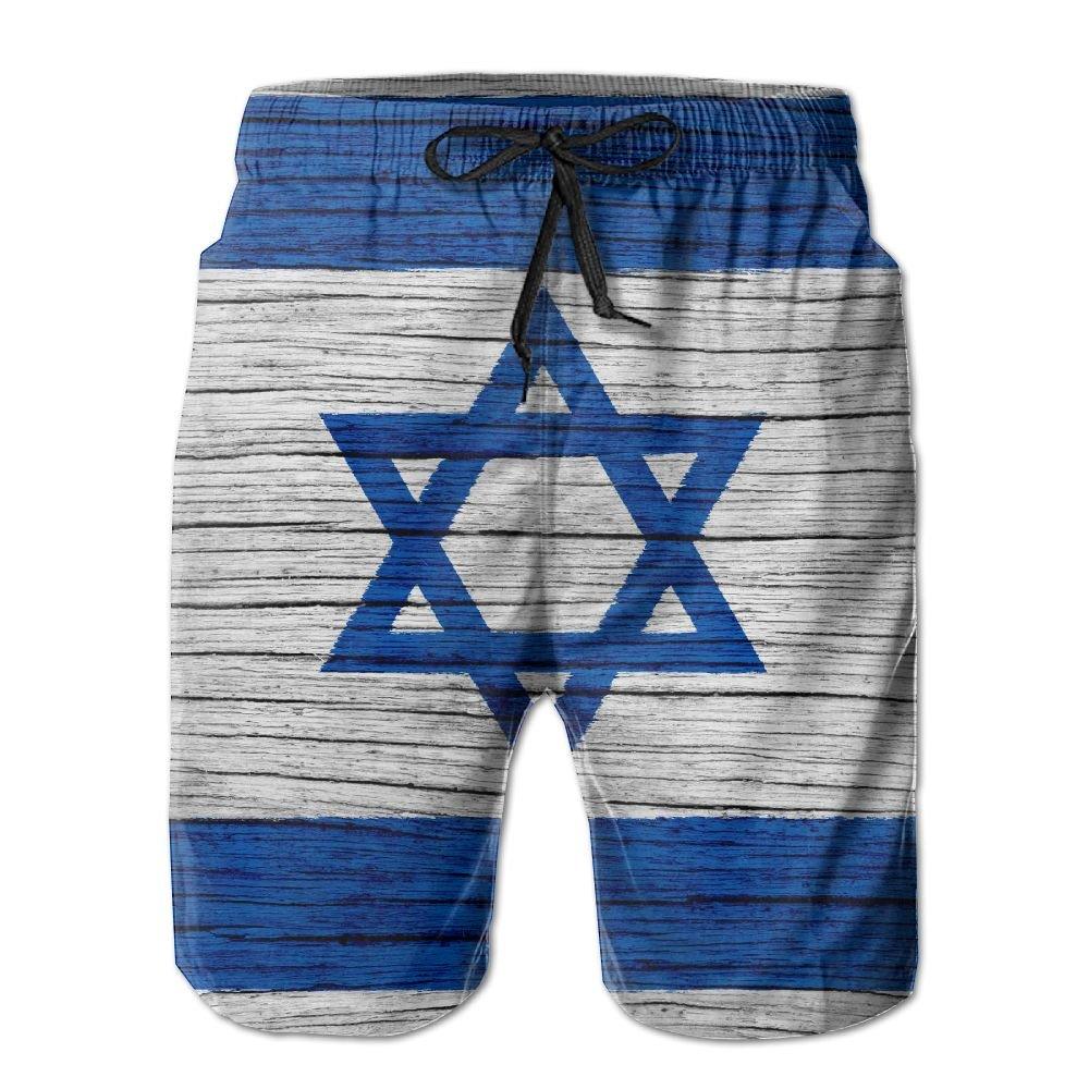 HFSST Israel Wooden Texture Israeli Flag Men Kid Male Summer Swimming Pockets Trunks Beachwear Asual Shorts Pants Mesh