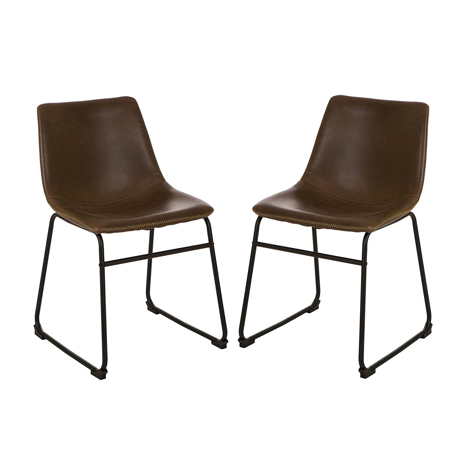 Amazon.com: Glitzhome Mid Century Centiar Counter Height Bar Stool Vintage Dinner  Chairs Dining Living Bedroom Brown Faux Leather Bucket Seat Set Of 2: ...