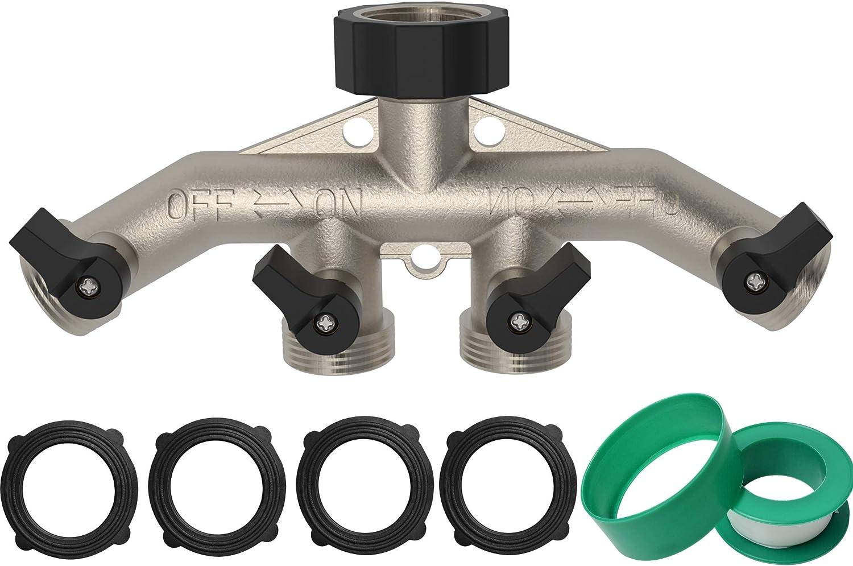 "OK5STAR 4 Way Garden Hose Splitter, 3/4"" Hose Connector, 4-Valve Hose Spigot Adapter for Garden Irrigation Watering"
