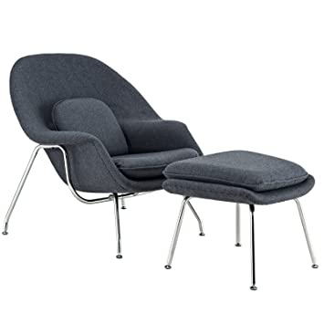 Merveilleux Modway Eero Saarinen Style Womb Chair And Ottoman Set In Dark Gray