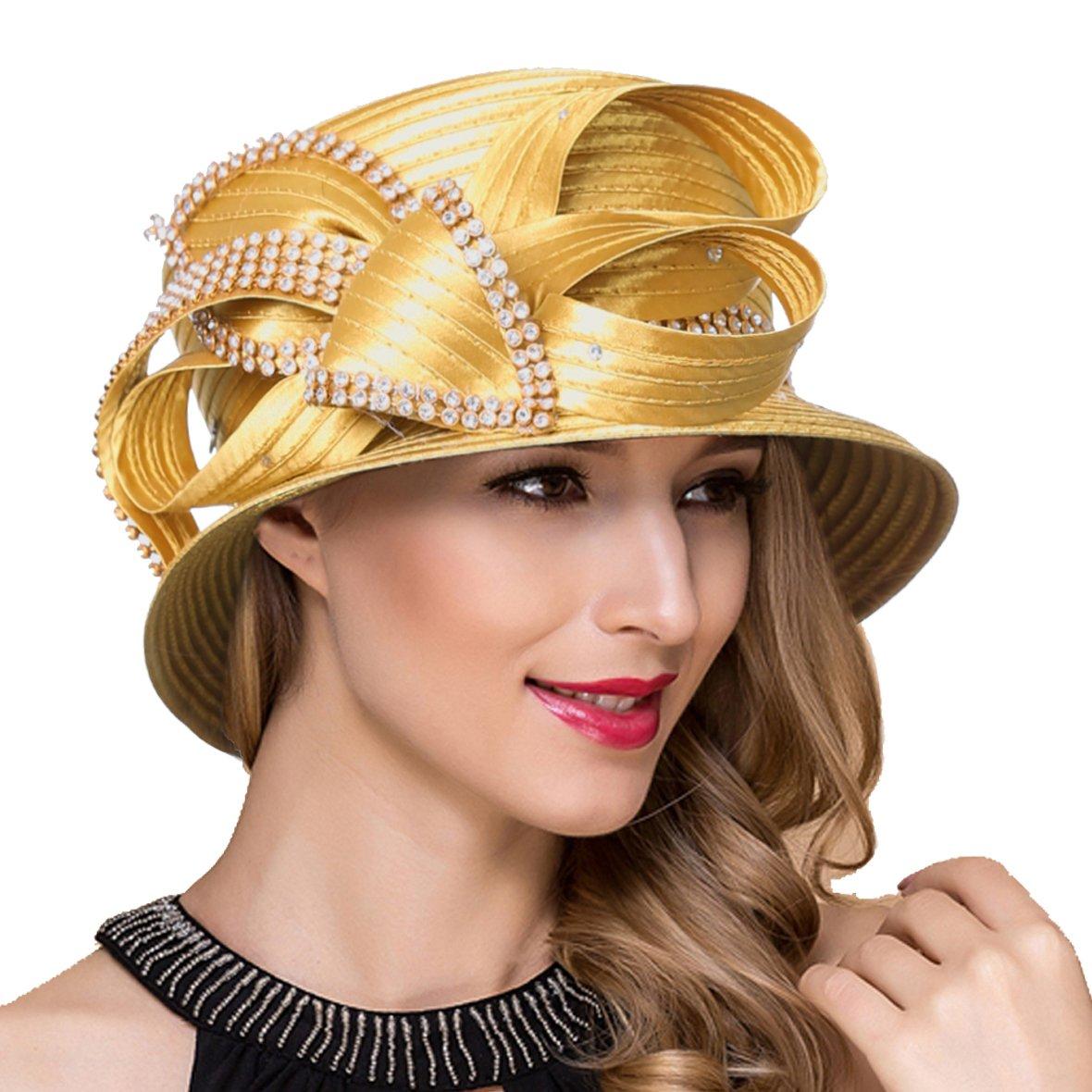 Women Kentucky Derby Church Dress Cloche Hat Fascinator Floral Bucket Hat S052 (SD707-Gold)