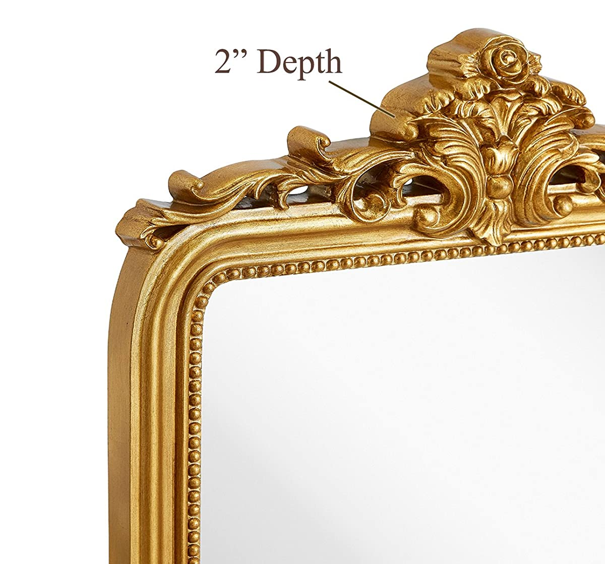 "Hamilton Hills Top Gold Baroque Wall Mirror | Rich Old World Feel Framed Beveled Elegant Glass Mirror | Entryway Bathroom or Powder Room (24"" x 36"")"