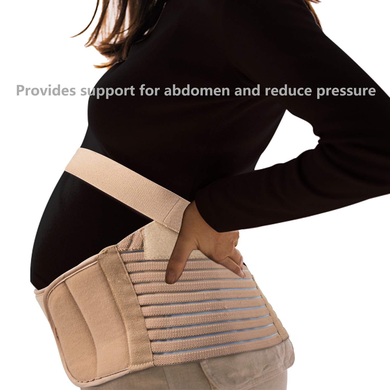 HBselect Maternity Belt Beige 2 in 1 Belt Pregnancy Bump Support Belt Post Pregnancy Belt Belly Band for Abdomen Belly Back Waist