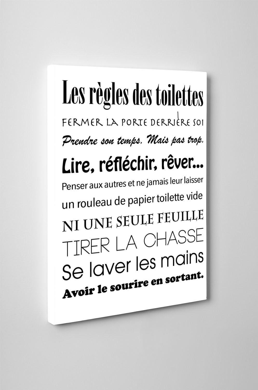 Beestick Tableau Les Regles Des Toilettes 45x60 Cm Blanc Noir Amazon Fr Cuisine Maison