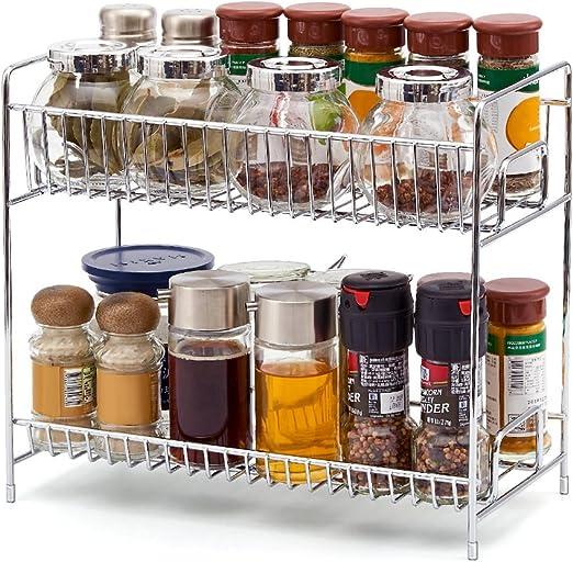 porta spezie in legno per condimenti bancone o parete a doppio ripiano per cucina Portaspezie in bamb/ù a 2 ripiani bottiglie di salsa spezie