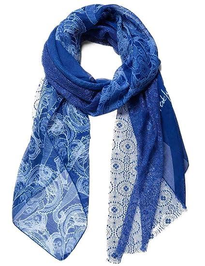 desigual foulard rectangle animal bleu femme accessoires