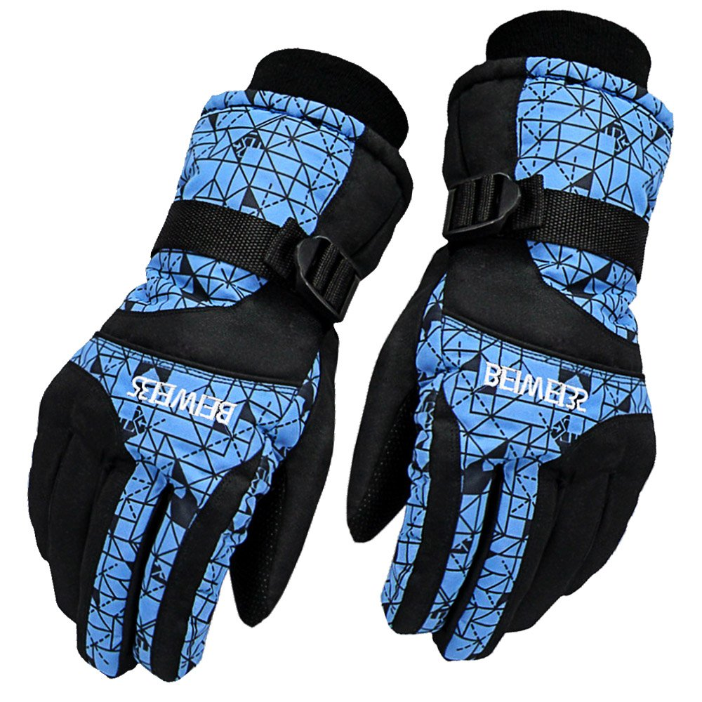Elisona-Adults Winter Windproof Waterproof Anti-slip Thermal Warm Ski Camping Gloves Blue for Men
