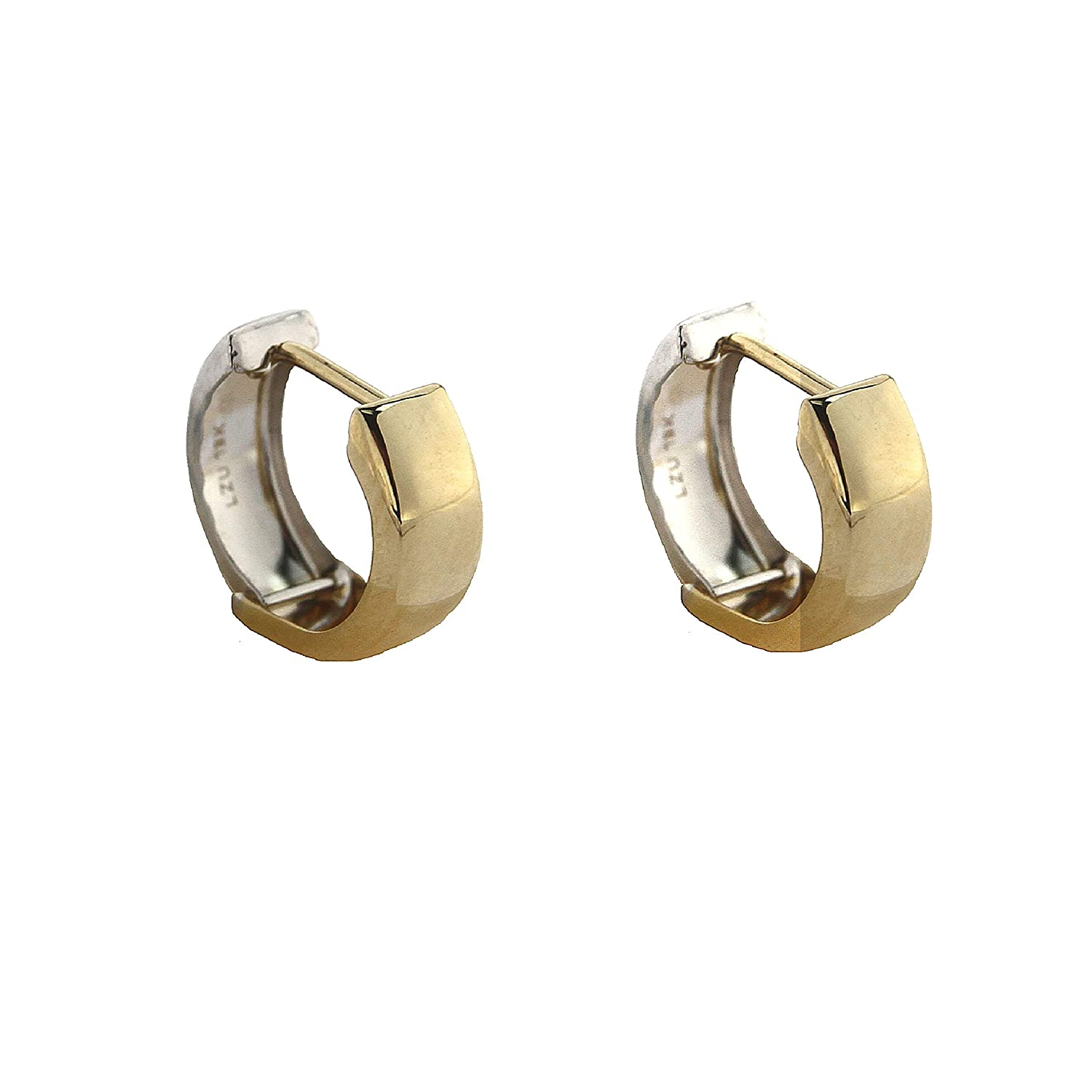 18K Two Tone Gold Polished Hinged Hoop Earrings 0.50 inch diameter x 0.19 inch
