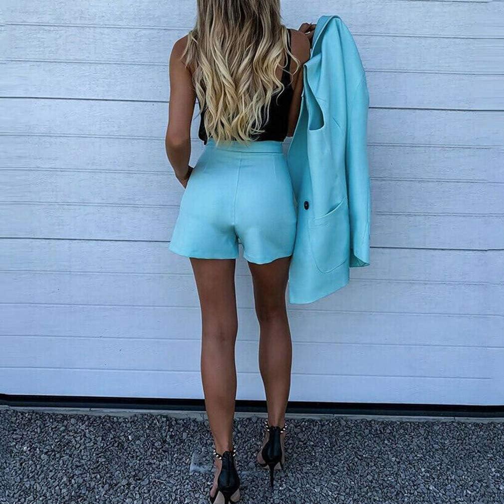 Yying Completo Lavoro OL Blazer+Shorts Completi Set Capovolgere Colletto Gilet e Pantaloncini Abito Donna Chic Set Ufficio 2pezzi Abiti