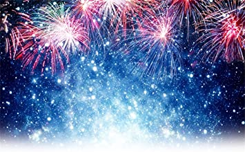 Christmas New Year Fireworks Pattern Background Edible Icing Party Cake Topper