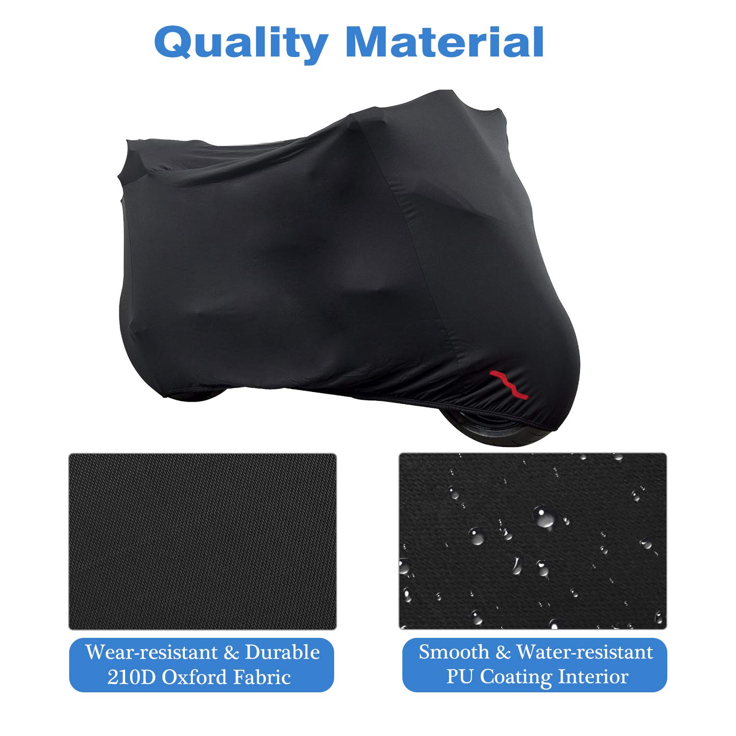 104 inch Universal Dustproof Waterproof Protective Cover 210D Oxford Cloth Sun Protection Case for Motorbike Outdoor Use MoKo Motorcycle Cover Black