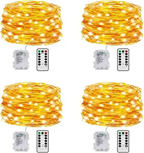DRILI 4 Pack 19.6 Ft 60 Led Fairy Lights Battery Operated with Remote Control Timer Waterproof Copper Wire Twinkle String Lights for Bedroom Indoor Outdoor Wedding Dorm Decor Warm White