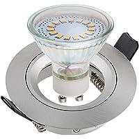 SEBSON Inbouwspot incl. GU10 LED Lamp 3,5W - Boorgat Ø65mm, Zilver Mat Aluminium, Plafondspot Ø80x24mm