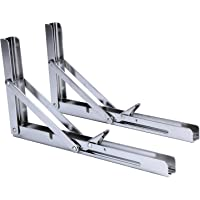 Amarine-made 2 PCS Polished Stainless Steel Folding Shelf Bench Table Folding Shelf or Bracket, Max Load: 330lb, Short Release Arm ( pair)