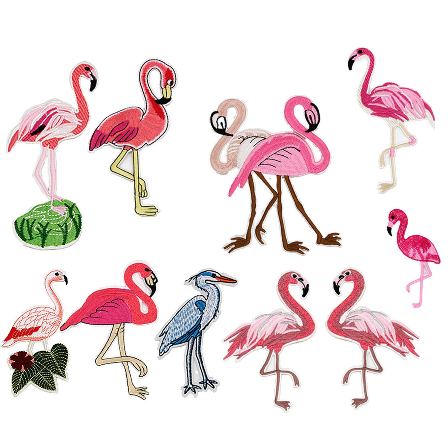 10 PCS Lifelike Flamingos Pattern DIY Clothes Patches Stickers Embroidered Sew Patches 10 Styles Clothes Accessories for T-shirt Jeans Clothing Bags Gosear