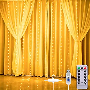 Christmas Curtain Lights,Star String Twinkle Fairy Wall Lights for Bedroom, 8 Modes Waterproof 9.8 X 9.2ft 280 LED Wall Decor Hanging Lights with Remote Control ,Wedding Garden Outdoor Indoor (White)