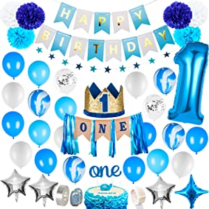 1st Birthday Boy Decorations - Baby Boy 1st birthday Party supplies blue decorations 67PCS with 1st Birthday Baby Crown, ONE Cake Topper, 1st Birthday Highchair Banner Decorations Happy Birthday Banner
