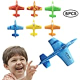 "US Sense 6 Pack 7"" Airplane Battle Plane Toy for Kids, Throwing Foam Airplane Flying Aircraft Plane DIY Glider Aeroplane Model Jet Kit Flying Toys for Boys Girls Teens, Outdoor Sport Game Toys"