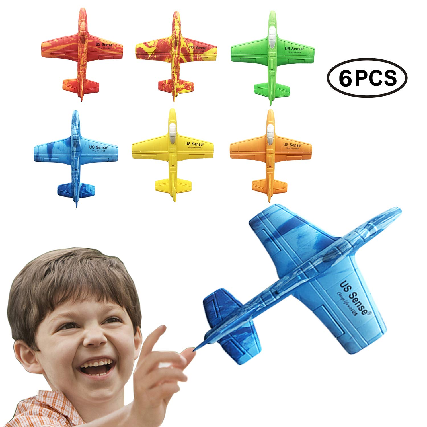 US Sense Airplane Battle Plane Toy for Kids, 6 Pack 7'' Throwing Foam Airplane Flying Aircraft Plane DIY Glider Aeroplane Model Jet Kit Flying Toys for Boys Girls Teens, Outdoor Sport Game Toys by US Sense