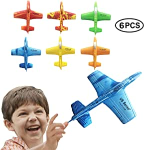 """US Sense 6 Pack 7"""" Airplane Battle Plane Toy for Kids, Throwing Foam Airplane Flying Aircraft Plane DIY Glider Aeroplane Model Jet Kit Flying Toys for Boys Girls Teens, Outdoor Sport Game Toys"""