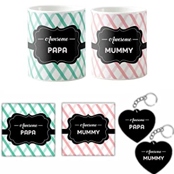 Buy Anniversary Gifts For Indian Mom Dad Awesome Mummy Papa Couple Mugs Mothers Day Fathers Set Of 6 Online At Low Prices In India