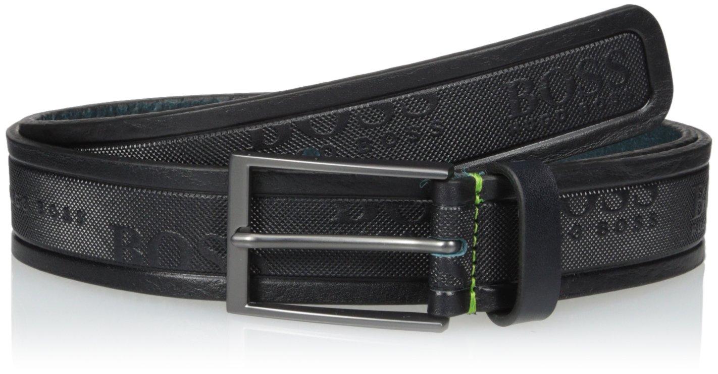 Boss Green Men's Tino Logo Embossed Leather Belt, dark blue, 32