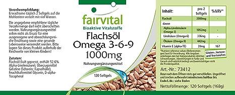 Aceite de Linaza cápsulas - Omega 3-6-9 - a prensado en frío - 120 Softgels - rico en ácido alfa-linolénico - ¡Calidad Alemana garantizada!