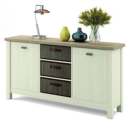 Mueble aparador Artik en colores cambrian y pino con 3 cestas de ...