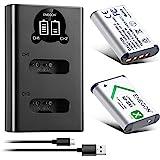 ENEGON NP-BX1 ersättningsbatteri (2-pack) och smart LED dubbel USB-laddare för Sony NP-BX1/M8 och Sony Cyber-Shot DSC…
