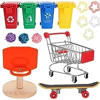 Hemobllo 15pcs Bird Training Toy Set Shopping Cart Basketball Trash Can Skateboard Trick Toys Parrot Intelligence Toy…