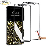 LLARIMIN iPhone X Screen Protector,3D Touch Full Coverage,Titanium Metal Edge,More Fashion [ Tempered Glass x 2 ] [ Edge to Edge Protection ] for Apple iPhone X (2017)