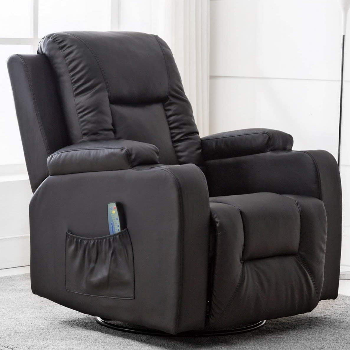 ComHoma Leather Recliner Chair Modern Rocker with Heated Massage Ergonomic Lounge 360 Degree Swivel Single Sofa Seat with Drink Holders Living Room Chair Black