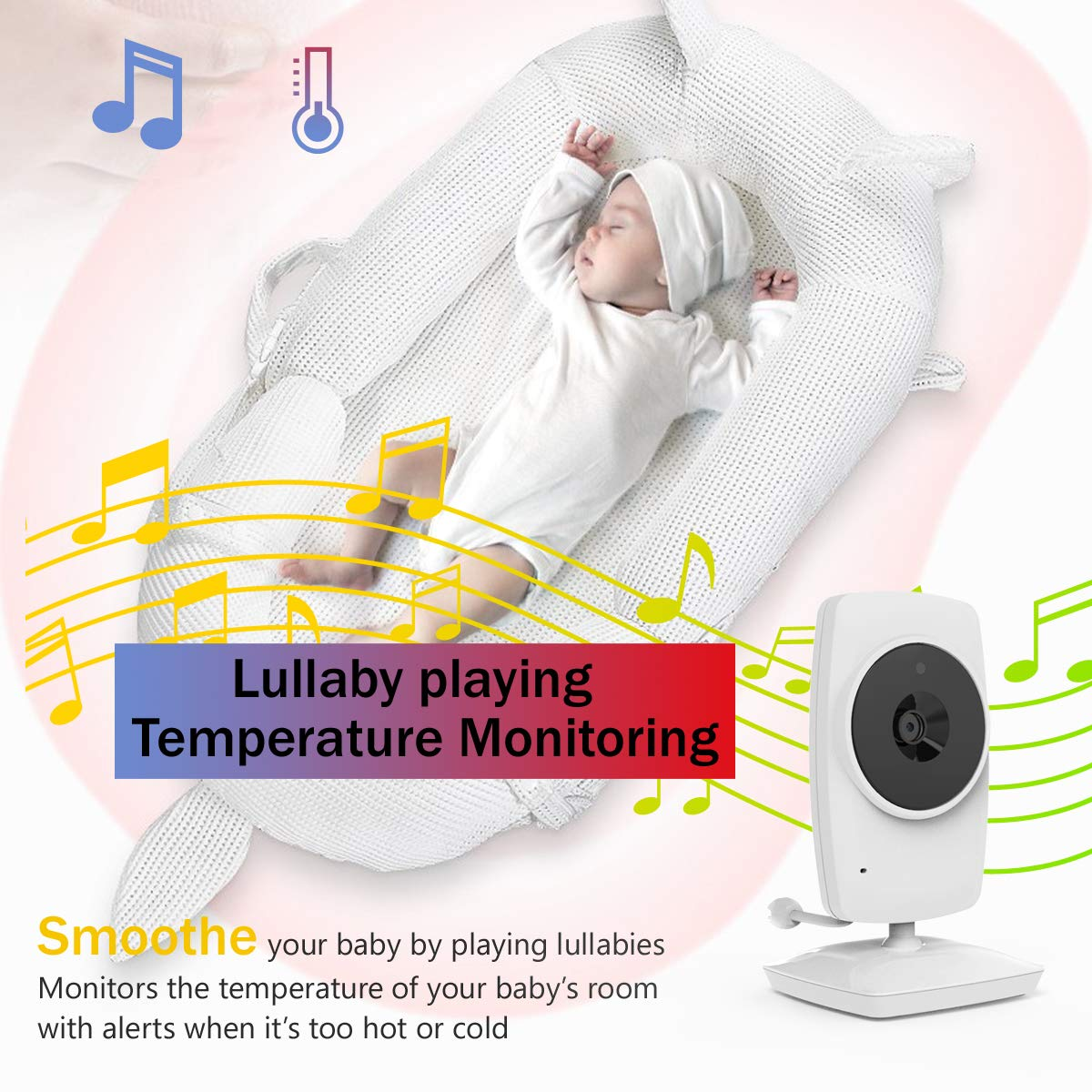 """IKQIEOR Baby Monitor- 3.2"""" Video Baby Monitor with Camera and Video, Two-Way Audio, Infrared Night Vision, 2 x Zoom and Lullabies Play : Baby"""