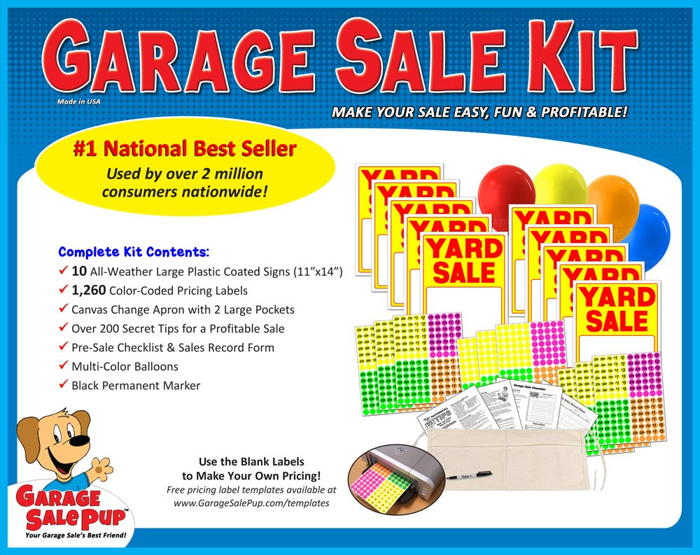 Yard Sale Sign Kit With Pricing Stickers And Change Apron A504Y By Garage Pup Amazonde Kuche Haushalt