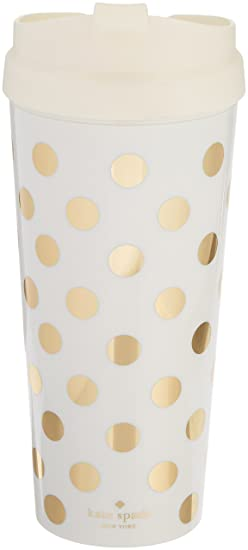 41d5af59a81 Kate Spade New York Women's Insulated Thermal Travel Mug Tumbler, 16  Ounces, Gold Dot