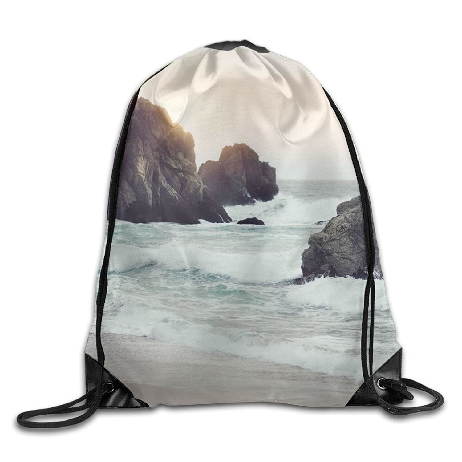 Sea-nature-sunny-beach Personalized Gym Drawstring Bags Travel Backpack Tote School Rucksack