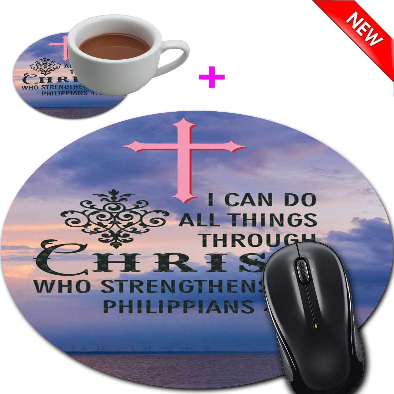 Mouse Pad and Coaster Set, Christian Bible Verses Philippians 4:13 Mouse Pad Round Non-Slip Rubber Mousepad Office Accessories Desk Decor Mouse Mat for Desktops Computer Laptops