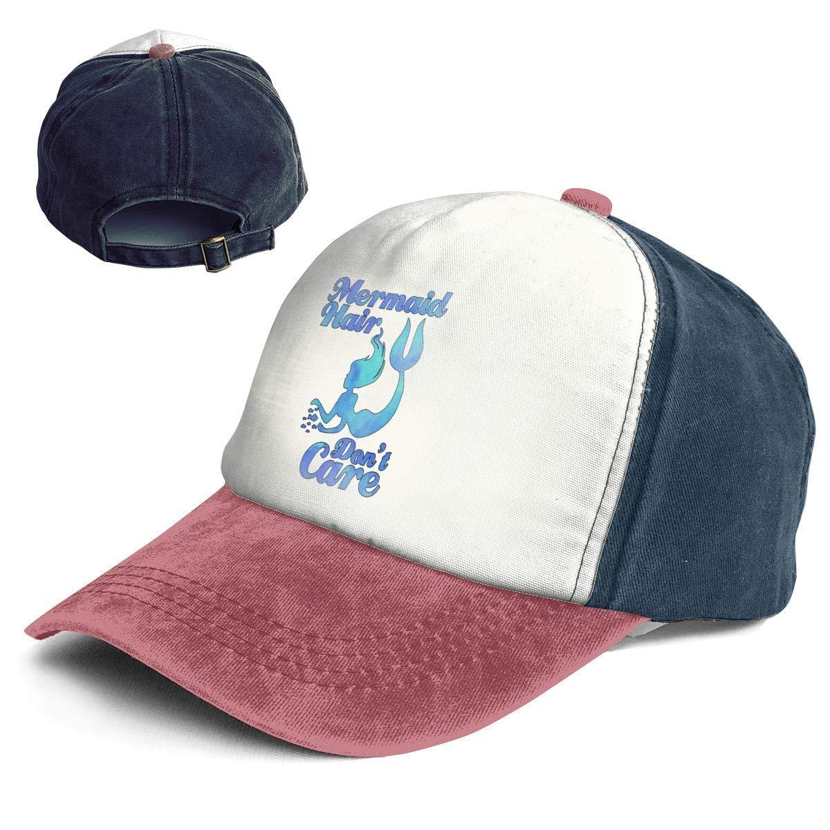 Mermaid Hair Don't Care Vintage Baseball Cap for Women Men Adjustable Trucker Sun Visor Cap