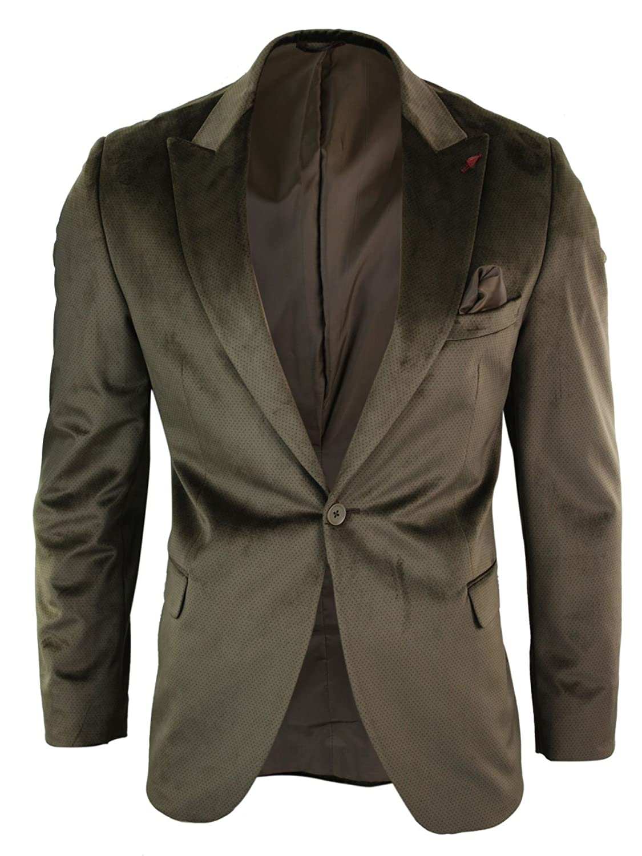 Mens Velvet Blazer Jacket Slim Fit 1 Button Smart Casual Wedding Prom Party