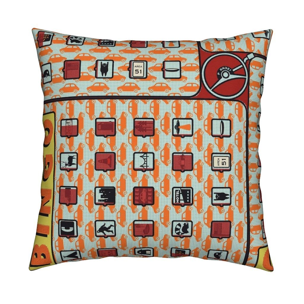 Roostery Highways Velvet Throw Pillow Cover Road Trip Bingo! by Thirdhalfstudios Cover Only by Roostery