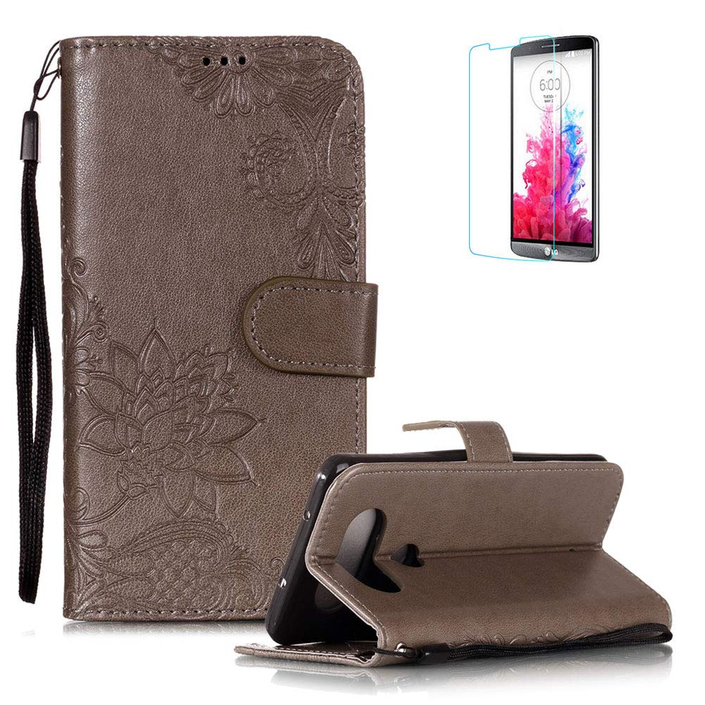 Funyye PU Leather Wallet Case for LG Q8 Free HD Protector,Premium Lace Flower Pattern Magnetic Flip with Cash Pouch Card Slot Design Cover for LG Q8,Gray