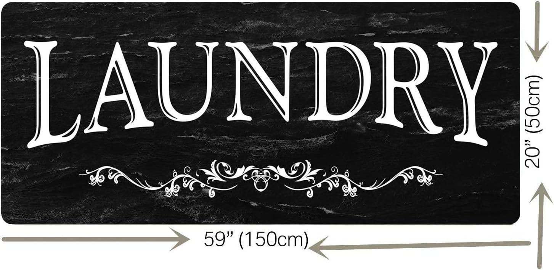 Black Laundry Room Runner Rug Laundry Room Rug Laundry Floor Mat Durable Washhouse Mat Black Rug Non-Slip Doormat Farmhouse Rug 20x59