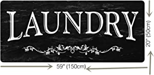 Black Laundry Room Runner Rug Laundry Room Rug Laundry Floor Mat Durable Washhouse Mat Black Rug Non-Slip Doormat Farmhouse Rug 20x59